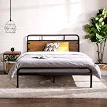 Zinus Santa Fe Double Bed Frame Metal and Wood with Pine Headboard and Footboard | Mattress Base Support Wooden Slat Black...