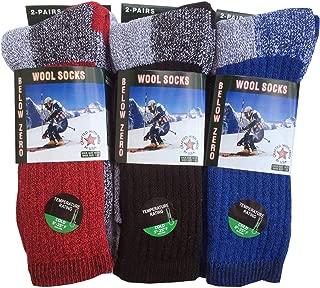 6-Pairs Men's Wool Thermal Socks Fits 10-13 Winter Outdoor