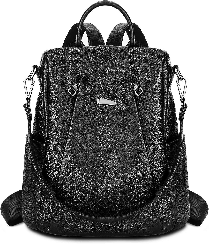 Gywon Women's Genuine Leather Backpack Daypack Crossbody Shoulder Bag Antitheft Back Opening Black