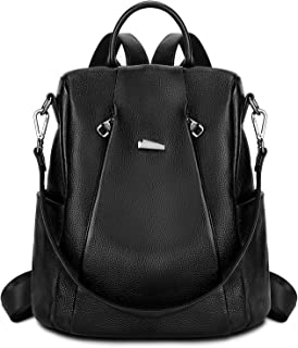 Gywon Women's Genuine Leather Backpack Daypack Crossbody Shoulder Bag Convertible Satchel Anti-theft Back Opening