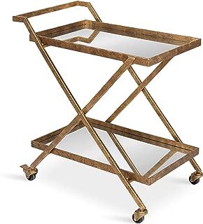 Kate and Laurel Tarrant 2-Shelf Metal and Mirror Tray Bar, Kitchen, Multi-Purpose Cart, Gold