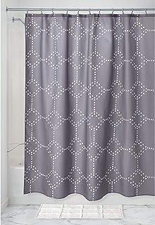 iDesign Dot Geo ducha, gran baño de poliéster, cortinas estampadas, gris, 183 cm x 183 cm