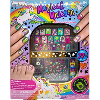 Hot Focus Unicorn Nail Art Glow in the Dark Kit 77 Pieces - Nail Stickers Unicorn and Rainbow Set, Nail Patches, Nail Polish and Nail File - Non-Toxic Water Based Polish