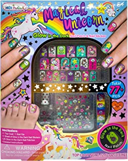 Hot Focus Magical Unicorn Glow in The Dark Nail Art Kit 77 Pieces - Glow in The Dark Unicorn and Rainbow Nail Patches, Nail Stickers, Nail Polish and Nail File - Non-Toxic Water Based Polish