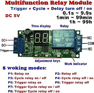Qianson DC 5V 12V 24V Digital LED Display Infinite Cycle Delay Timer Switch ON/OFF Relay Module (DC 5V)