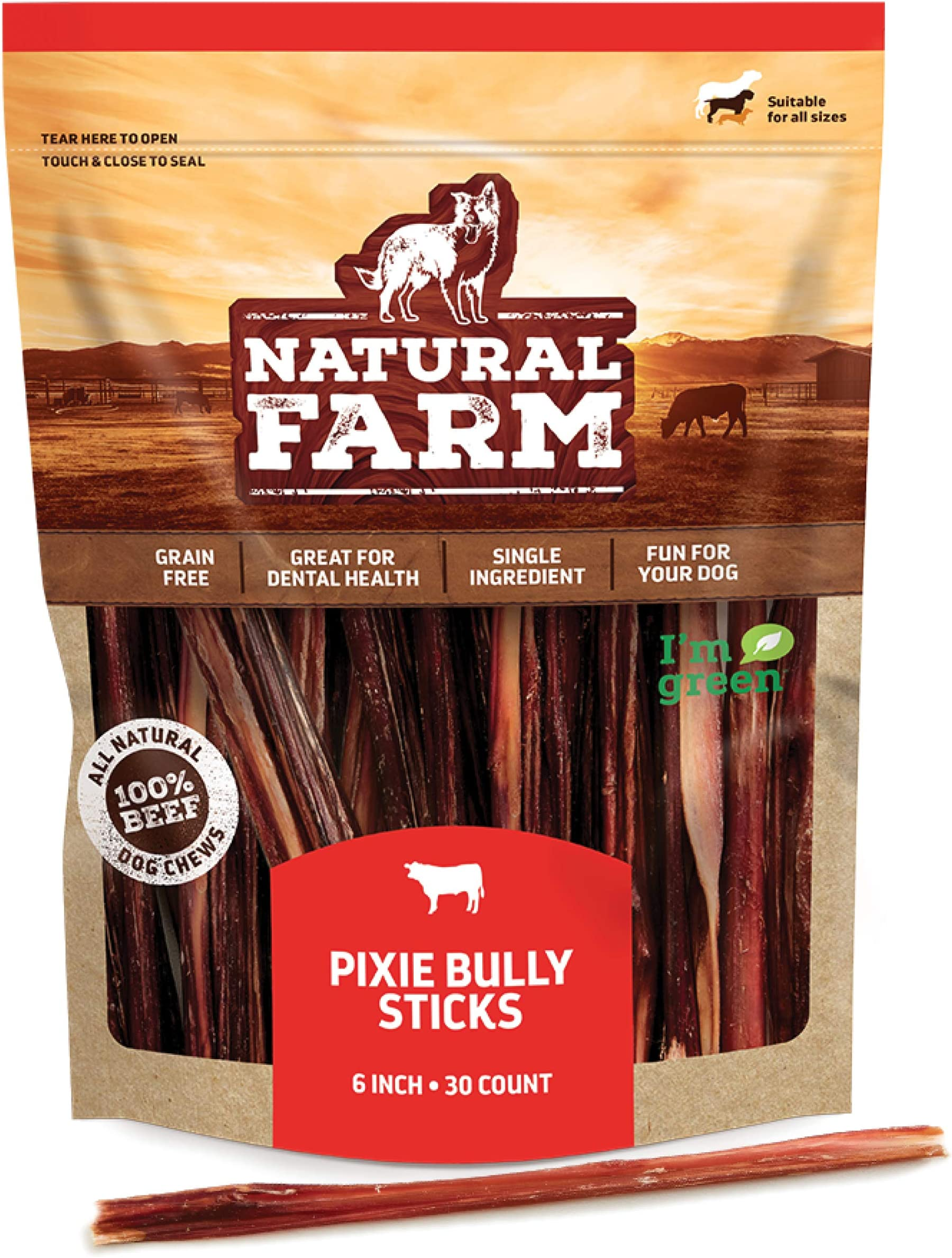 "Made by Natural Farm Pup 6"" Pixie Bully Skin Sticks (30-Pack), Extra-Thin, Hollow, Fast Chewing Pet Treats - Grain-Free, High Protein, Best Rawhide Alternative for All Small, Puppies or Senior Dogs"