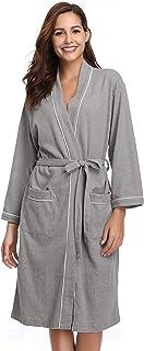 Vlazom Albornoz Mujer y Hombre/Unisexo Suave para Cuatro Estaciones, Bata Kimono para Ducha, SPA, Dormir y en Casa