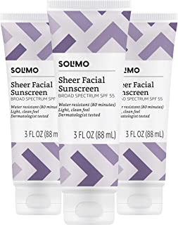 Amazon Brand - Solimo Sheer Facial Sunscreen SPF 55, 3.0 Fluid Ounce (Pack of 3)
