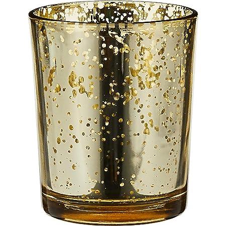 Amazon Com Biedermann Rustic Glass Votive Holder Gold Set Of 12 Home Kitchen