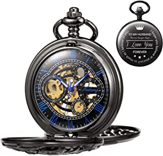 TREEWETO Men's Engraved Mechanical Pocket Watch Lucky Dragon Hollow Case Double Hunter Skeleton Dial Customized Personalized Anniversary Gifts Valentine's Day Gift for Husband with Chain + Box
