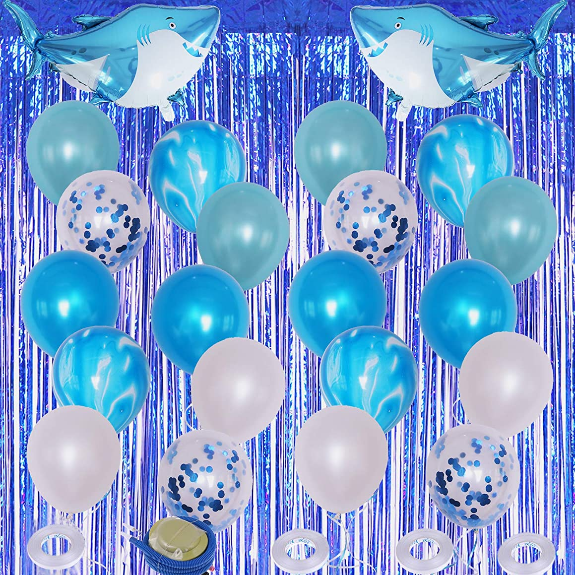 KisSealed 28 Pieces Shark Blue Party Decorations Latex Balloons Foil Curtains Shark Balloons Ocean Theme Party Decors Balloon Ribbons for Kids Gifts Wedding Festival Decor