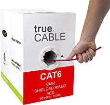 Cat6 Shielded Riser (CMR), 1000ft, Red, 23AWG Solid Bare Copper, 550MHz, ETL Listed, Overall Foil Shield (FTP), Bulk Ethernet Cable, trueCABLE