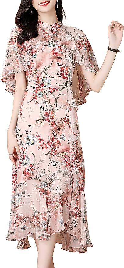 Vintage Style Dresses | Vintage Inspired Dresses Vintage Womens Retro Summer Hight Neck A Line Casual Comfortabel Swing Midi Dress  AT vintagedancer.com