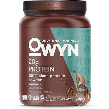 OWYN - 100% Vegan Plant-Based Protein Powder   Dark Chocolate 1.17 lb Tub   Dairy-Free, Gluten-Free, Soy-Free, Allergy-Free, Vegetarian