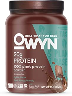 OWYN Only What You Need 100% Vegan Plant-Based Protein Powder, Dark Chocolate, Dairy Free, Gluten Free, Soy Free, Allergy ...