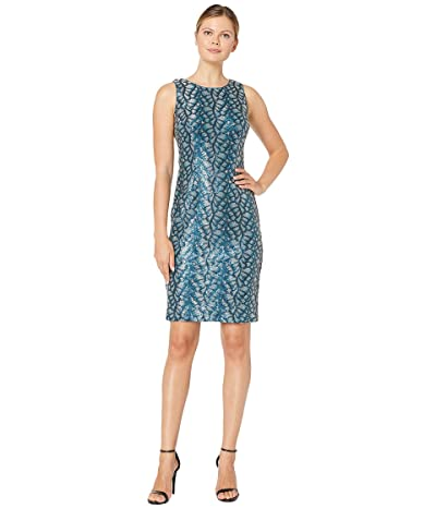 Tahari by ASL Sleeveless All Over Sequin Vine Sheath Dress (Teal Sequin Vine) Women