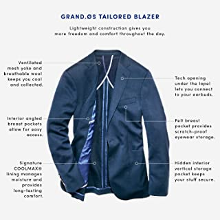Cole Haan Men's Slim Fit Blazer, Brown/Blue Plaid, 40S