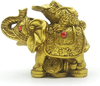 """Mose Cafolo Feng Shui 3"""" Gloden Toad Frog Kneeling Coin on Back of Elephant Figurine with Red Rhinestone for Wealth and Fortune Great Home Decor Table Centerpiece Ornament"""
