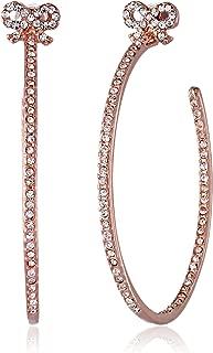 Medium Crystal Bow Rose Gold Hoop Earrings