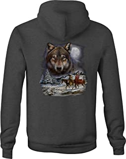 Zip Up Hoodie Native American White Grey Wolf Winter Indian Scene