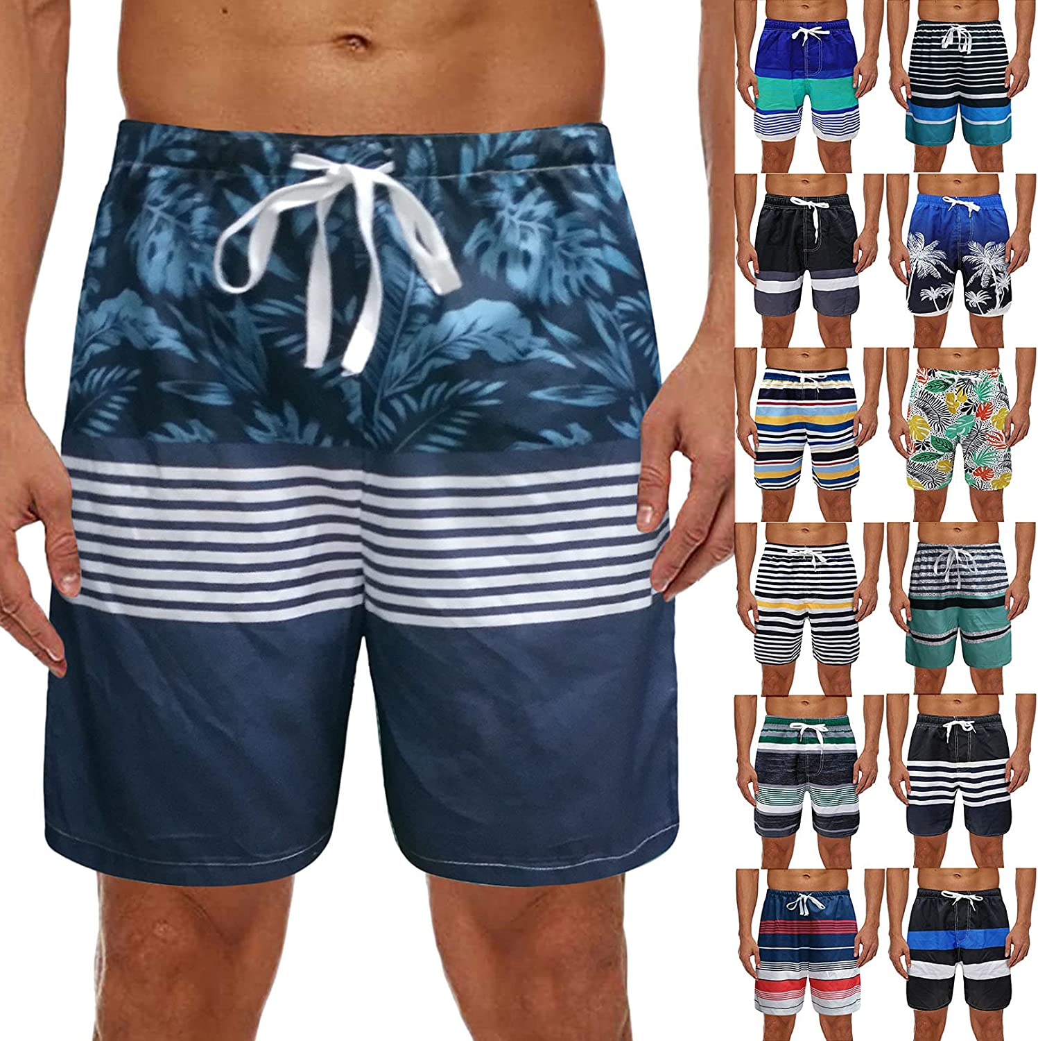 Swim Trunks for Men Summer Quick Dry Board Shorts Fashion Printed Beach Shorts Bathing Suits with Pockets