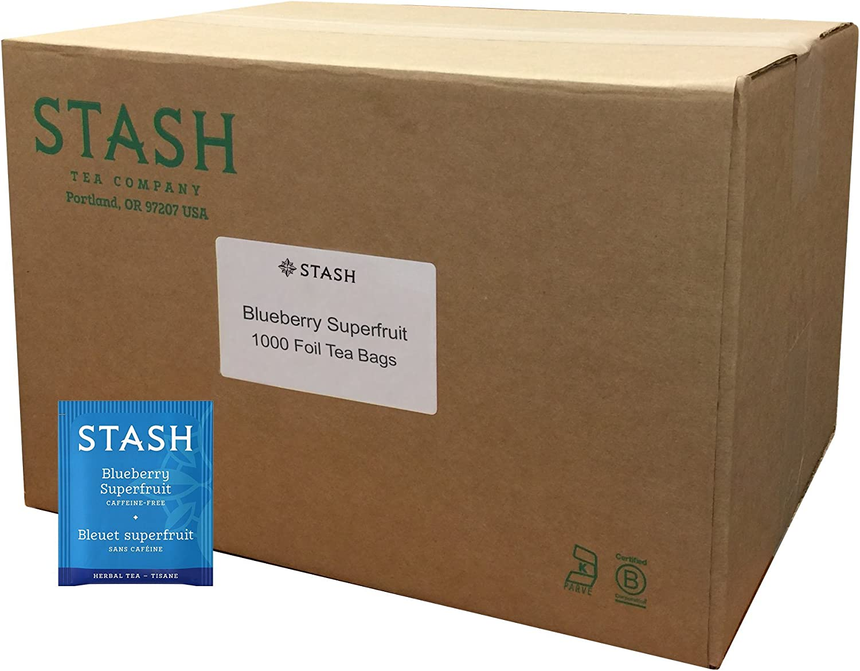 Stash Tea blueeberry Superfruit Herbal Tea 1000 Count Tea Bags in Foil Individual Herbal Tea Bags for Use in Teapots Mugs or Cups, Brew Hot Tea or Iced Tea