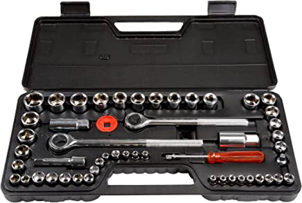 Stalwart 52-Piece 1/4, 3/8 and 1/2 Drive Socket Set SAE and Metric
