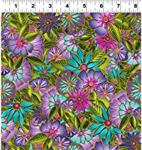 Sea Goddess by Laurel Burch from Clothworks 100% Cotton Quilt Ocean Fabric Y2599-55 Multi Floral