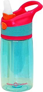 Green Canteen PTBK-400-PAA Single Wall Tritan Plastic Aqua Bottle with Pink/Aqua Push Button Flip Cap with Orange Accents, 12 oz