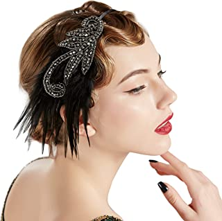 Coucoland 1920s Feather Headband Women's 20s Style Flapper Charleston Headband Great Gatsby Women's Fancy Dress Costume Accessories