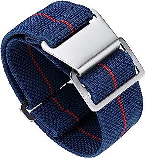 BINLUN交換用ベルト時計バンド時計ストラップNATOナイロン弾性防水フックアンドループ13色3サイズ18/20/22mm シルバーバックル(最新改良バージョン)