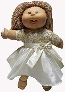 Off White Party Dress Fits 15-16 Inch Baby Dolls and Cabbage Patch Kid Dolls