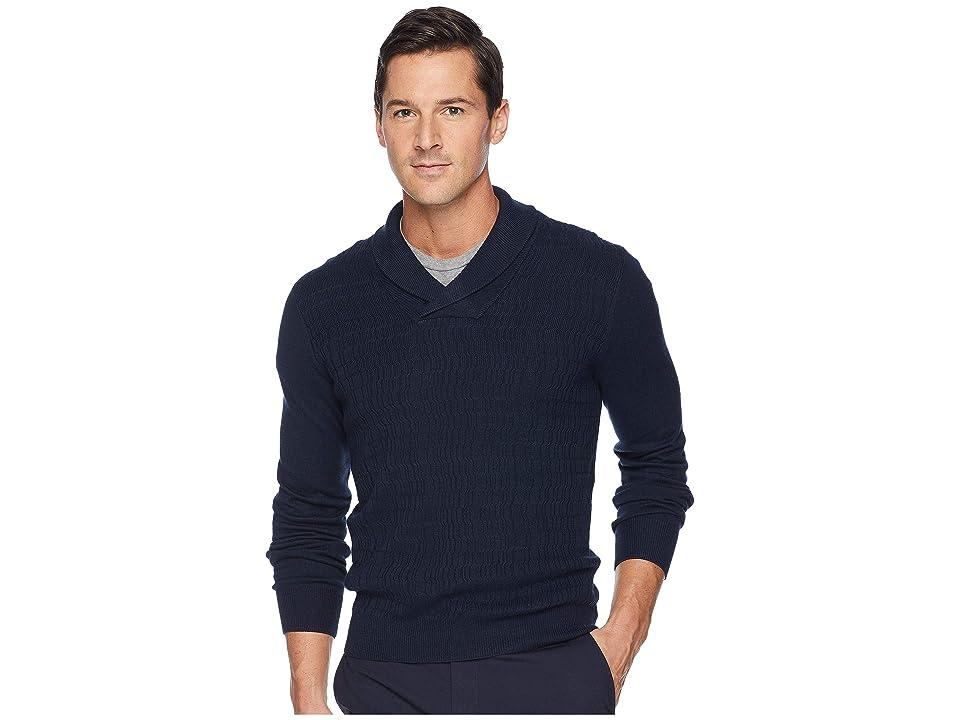 Perry Ellis Texture Pattern Shawl Pullover Sweater (Dark Sapphire) Men
