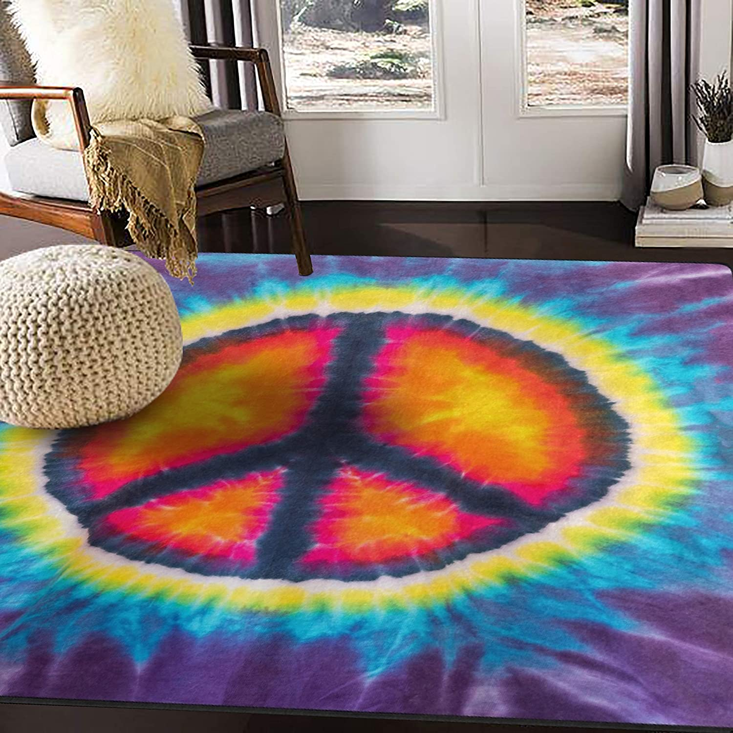 ALAZA Sales Peace Sign Tie Dye Watercolor for Rugs Area Rug Purchase Roo Living