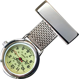 NW-Pro Lapel Nurse Watch - Glow-in-The-Dark Dial - Water Resistant - Braided Wide - Silver