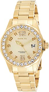 Women's 21397 Pro Diver 18k Gold Ion-Plated Stainless Steel Watch with Crystals