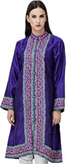 Exotic India Clematis-Blue Kashmiri Long Jacket with Hand-Embroidered Flowers