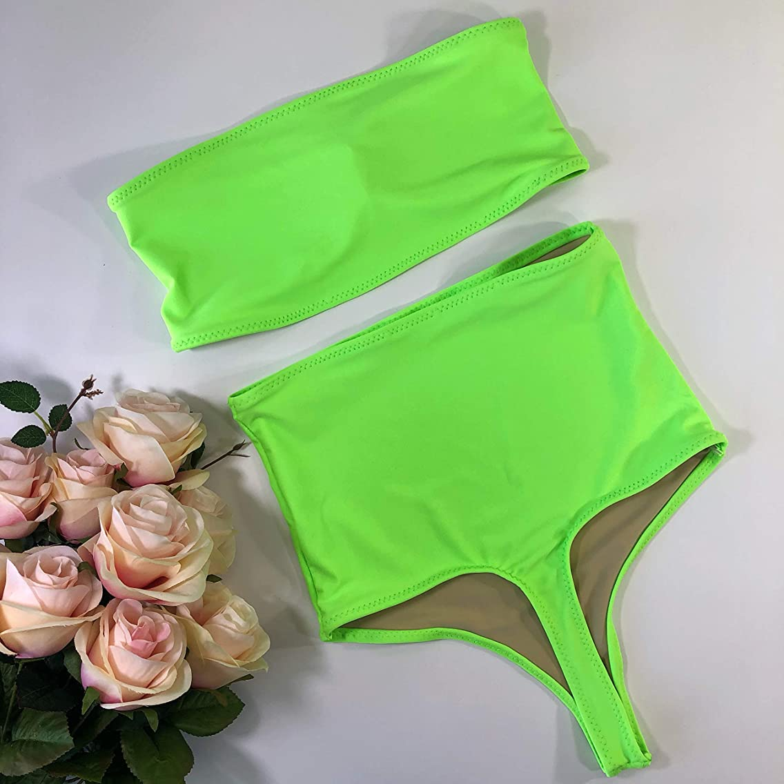 Lime green high waisted thong swimsuit