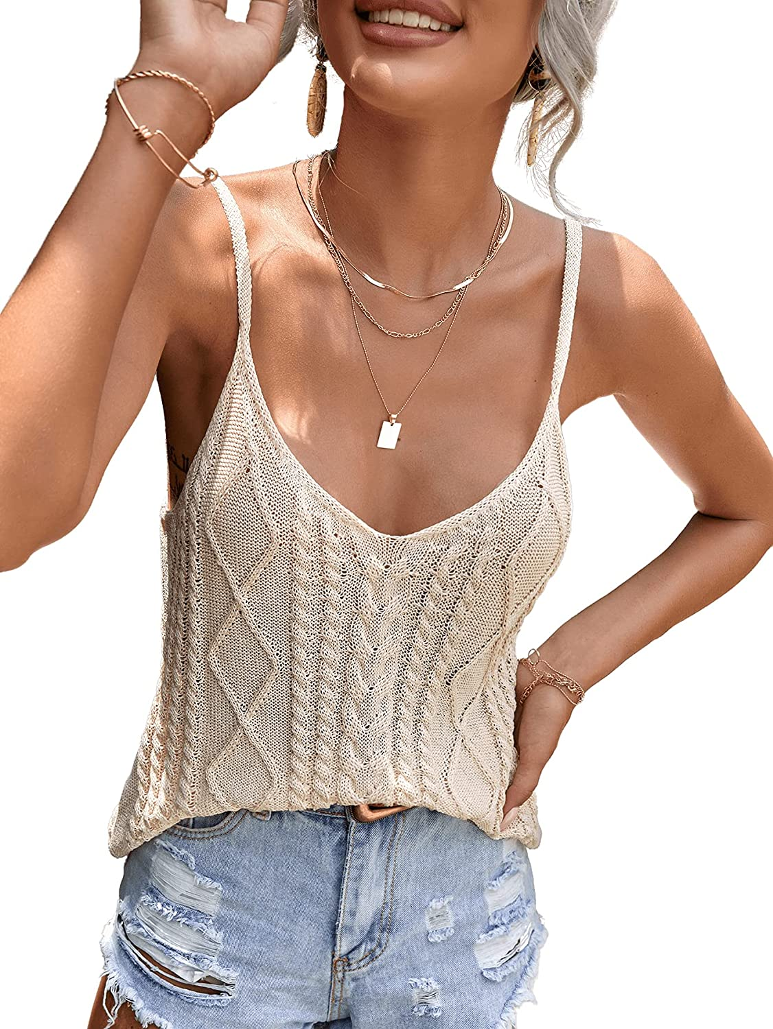 Milumia Women's Argyle Cable Knit Cami Tops Backless Spaghetti Strap Sweater Camisole