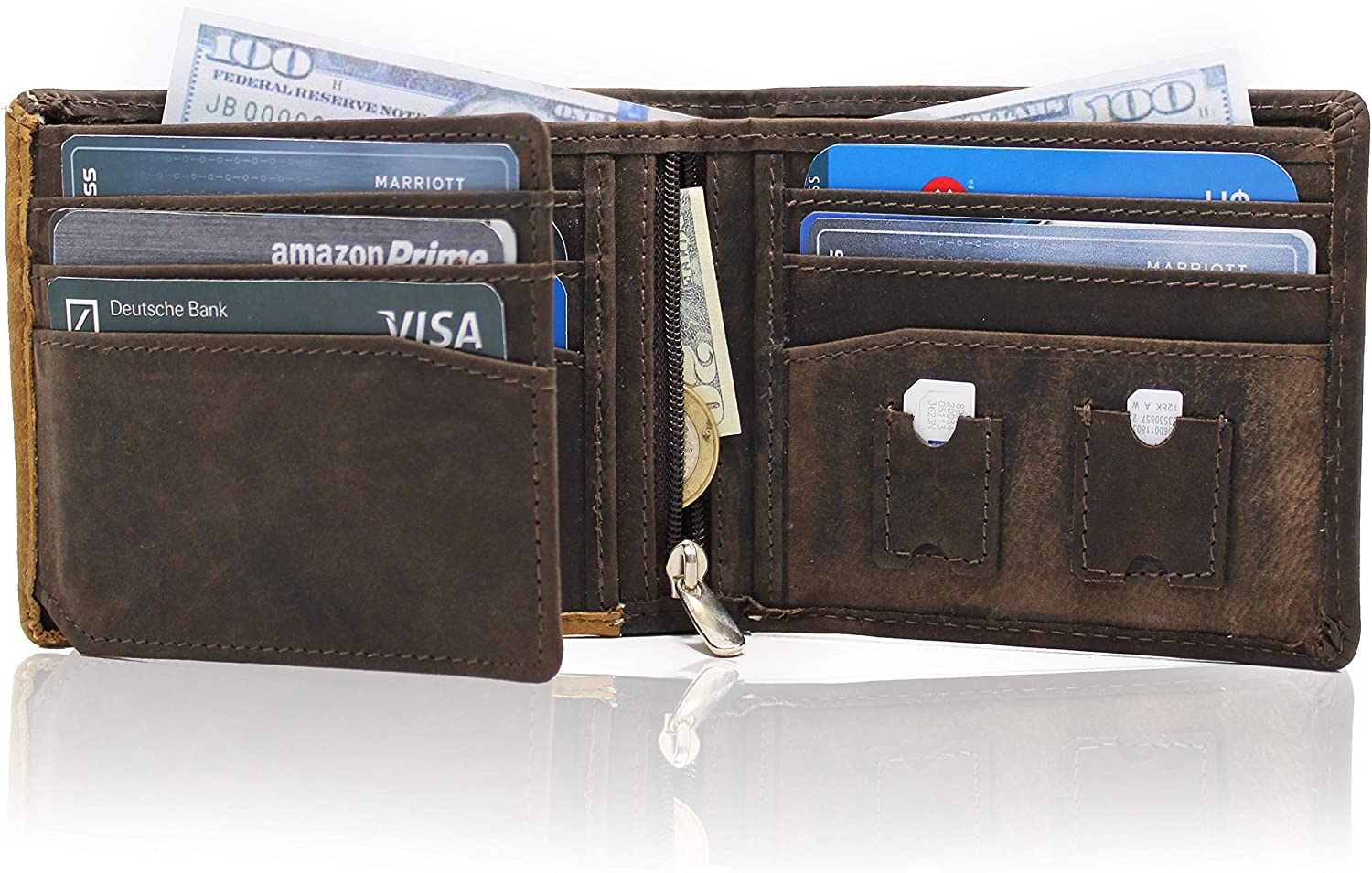 Bifold Wallet Premium Leather - in dual color ID Flap & inside Zipper with RFID blocking - Dark Brown/Yellow color by Birch