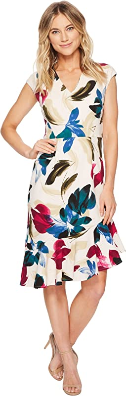 Cap Sleeve Asymmetrical Flounce Dress
