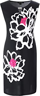 Chicwe Women's Stretch Plus Size Floral Print Shift Dress with Keyhole and Metal Trim 1X-4X