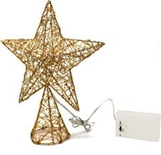 CVHOMEDECO. Golden Tree Top Star with Warm White LED Lights and Timer for Christmas Ornaments and Holiday Seasonal Décor, ...