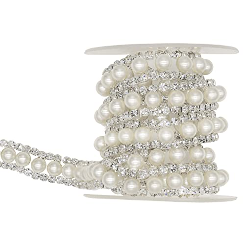 Shinytime 1 Yard Pearl Trim Rhinestone Chain Diamante Ribbon Diamond Chain Rhinestone  Applique with Inlaid White 4342aa74c69f