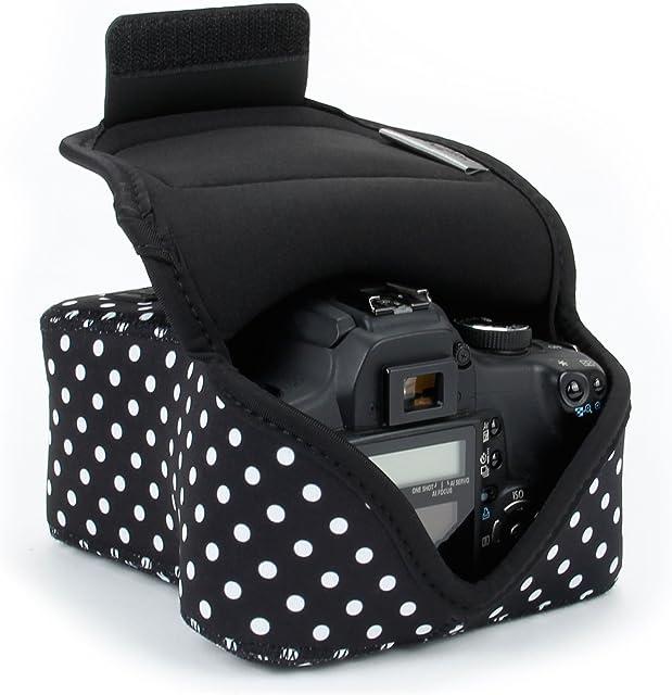 USA Gear DSLR - Funda para cámara Digital con protección de Neopreno Correa para cinturón y Accesorios de Almacenamiento diseño de Lunares Compatible con Canon Nikon Sony Olympus Pentax etc.