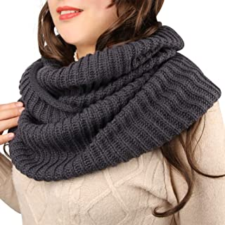 Women's Infinity Scarf Winter Warm Knit Circle Scarves, 1 Pack,(Mustard, Beige, Grey, Burgundy)