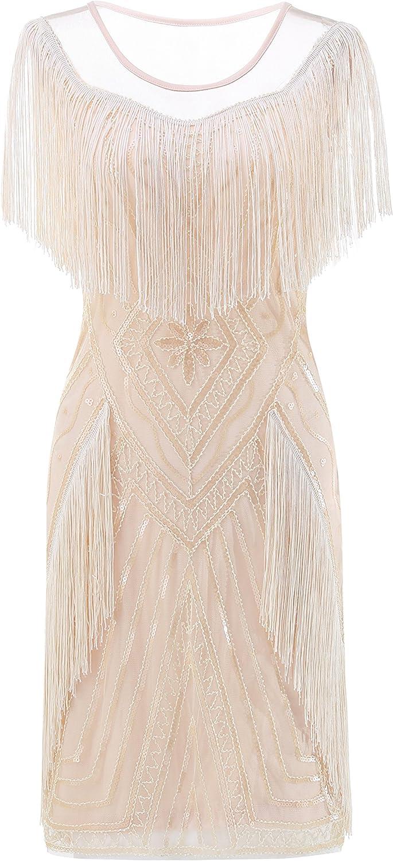 Metme Women's 1920s Gatsby Flapper Dress Retro Theme Fringe Dresses Wedding Evening Party