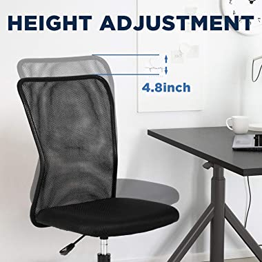 Home Office Chair Mid Back Mesh Desk Chair Armless Computer Chair Ergonomic Task Rolling Swivel Chair Back Support Adjustable