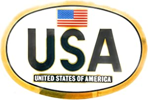 AV Patriotic Stickers, Euro Style USA Sticker, United States of America Flag Vinyl, Oval U.S Stickers for Cars, Trucks, Laptops, and Coolers (3 x 5 in)