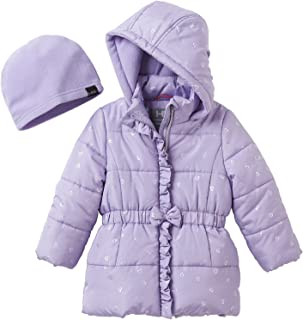 Girls' 2T-6X Metallic hearts Puffer Jacket With Hat